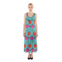 Tulips Floral Background Pattern Sleeveless Maxi Dress