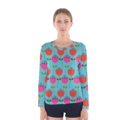 Tulips Floral Background Pattern Women s Long Sleeve Tee
