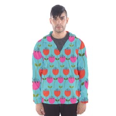 Tulips Floral Background Pattern Hooded Wind Breaker (Men)