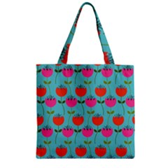 Tulips Floral Background Pattern Zipper Grocery Tote Bag