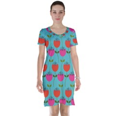 Tulips Floral Background Pattern Short Sleeve Nightdress