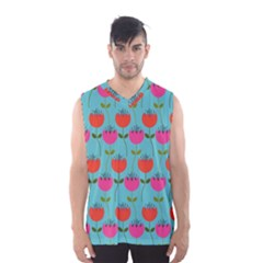 Tulips Floral Background Pattern Men s Basketball Tank Top