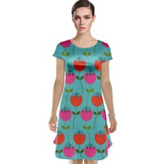 Tulips Floral Background Pattern Cap Sleeve Nightdress