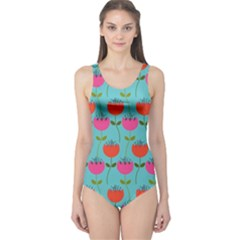 Tulips Floral Background Pattern One Piece Swimsuit