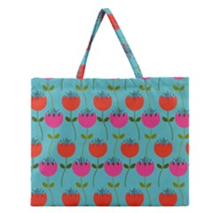 Tulips Floral Background Pattern Zipper Large Tote Bag