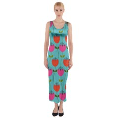 Tulips Floral Background Pattern Fitted Maxi Dress