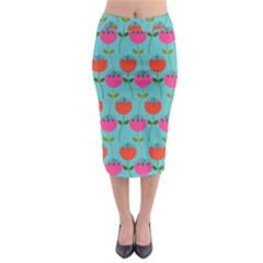 Tulips Floral Background Pattern Midi Pencil Skirt