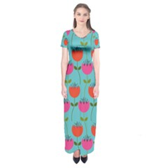 Tulips Floral Background Pattern Short Sleeve Maxi Dress