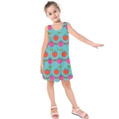 Tulips Floral Background Pattern Kids  Sleeveless Dress
