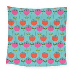 Tulips Floral Background Pattern Square Tapestry (large)