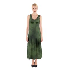Vintage Camouflage Military Swatch Old Army Background Sleeveless Maxi Dress