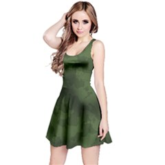 Vintage Camouflage Military Swatch Old Army Background Reversible Sleeveless Dress