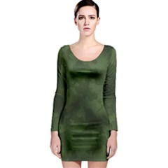Vintage Camouflage Military Swatch Old Army Background Long Sleeve Bodycon Dress