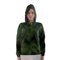 Vintage Camouflage Military Swatch Old Army Background Hooded Wind Breaker (Women)