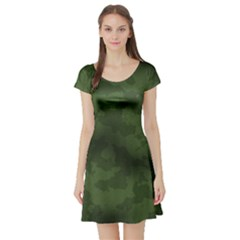 Vintage Camouflage Military Swatch Old Army Background Short Sleeve Skater Dress