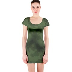 Vintage Camouflage Military Swatch Old Army Background Short Sleeve Bodycon Dress