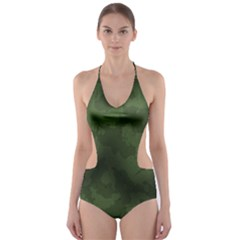 Vintage Camouflage Military Swatch Old Army Background Cut-Out One Piece Swimsuit