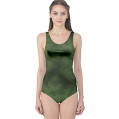 Vintage Camouflage Military Swatch Old Army Background One Piece Swimsuit