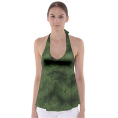 Vintage Camouflage Military Swatch Old Army Background Babydoll Tankini Top
