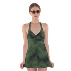 Vintage Camouflage Military Swatch Old Army Background Halter Swimsuit Dress