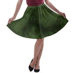 Vintage Camouflage Military Swatch Old Army Background A-line Skater Skirt
