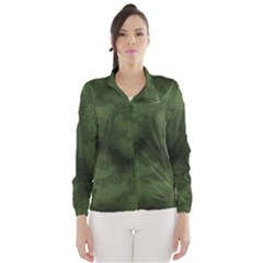 Vintage Camouflage Military Swatch Old Army Background Wind Breaker (Women)
