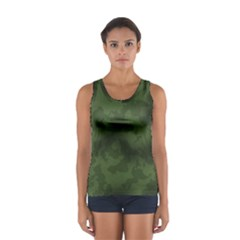 Vintage Camouflage Military Swatch Old Army Background Women s Sport Tank Top