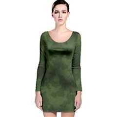 Vintage Camouflage Military Swatch Old Army Background Long Sleeve Velvet Bodycon Dress