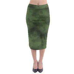 Vintage Camouflage Military Swatch Old Army Background Midi Pencil Skirt