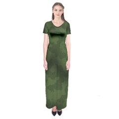 Vintage Camouflage Military Swatch Old Army Background Short Sleeve Maxi Dress