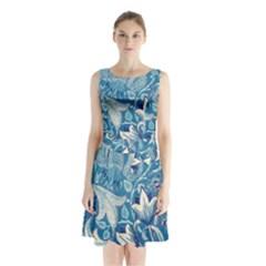 Floral pattern Sleeveless Chiffon Waist Tie Dress