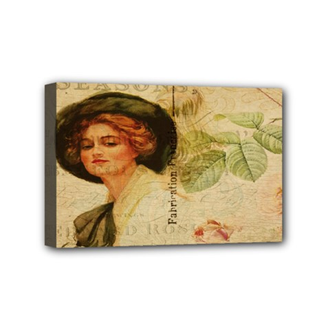 Lady On Vintage Postcard Vintage Floral French Postcard With Face Of Glamorous Woman Illustration Mini Canvas 6  X 4