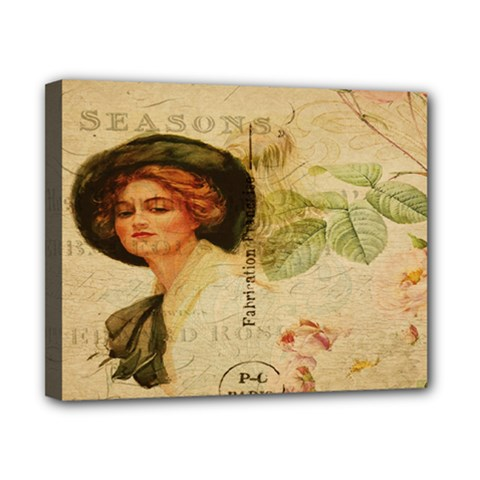 Lady On Vintage Postcard Vintage Floral French Postcard With Face Of Glamorous Woman Illustration Canvas 10  X 8