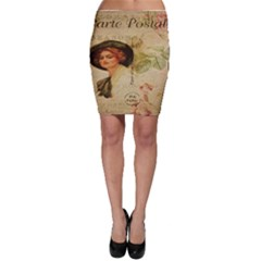 Lady On Vintage Postcard Vintage Floral French Postcard With Face Of Glamorous Woman Illustration Bodycon Skirt