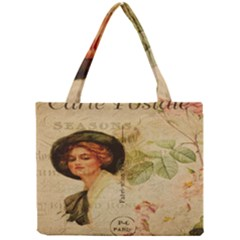 Lady On Vintage Postcard Vintage Floral French Postcard With Face Of Glamorous Woman Illustration Mini Tote Bag