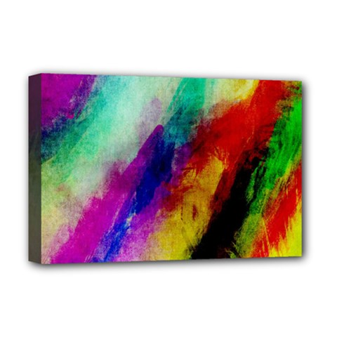 Colorful Abstract Paint Splats Background Deluxe Canvas 18  x 12