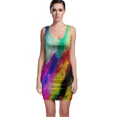 Colorful Abstract Paint Splats Background Sleeveless Bodycon Dress