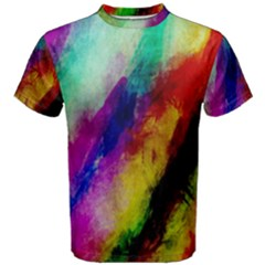 Colorful Abstract Paint Splats Background Men s Cotton Tee