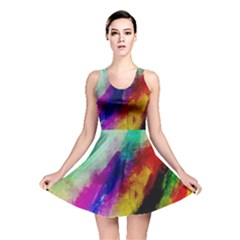 Colorful Abstract Paint Splats Background Reversible Skater Dress