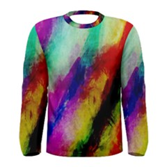 Colorful Abstract Paint Splats Background Men s Long Sleeve Tee