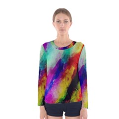 Colorful Abstract Paint Splats Background Women s Long Sleeve Tee