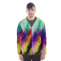 Colorful Abstract Paint Splats Background Hooded Wind Breaker (Men)
