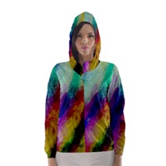 Colorful Abstract Paint Splats Background Hooded Wind Breaker (women)