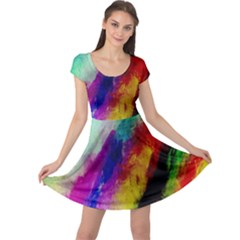 Colorful Abstract Paint Splats Background Cap Sleeve Dresses