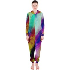 Colorful Abstract Paint Splats Background Hooded Jumpsuit (Ladies)