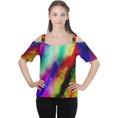 Colorful Abstract Paint Splats Background Women s Cutout Shoulder Tee