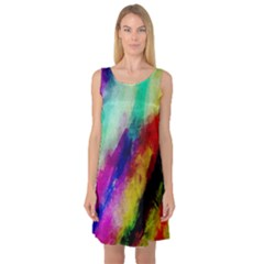 Colorful Abstract Paint Splats Background Sleeveless Satin Nightdress