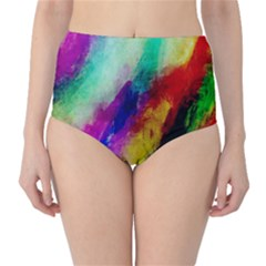 Colorful Abstract Paint Splats Background High-Waist Bikini Bottoms