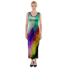 Colorful Abstract Paint Splats Background Fitted Maxi Dress