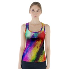 Colorful Abstract Paint Splats Background Racer Back Sports Top